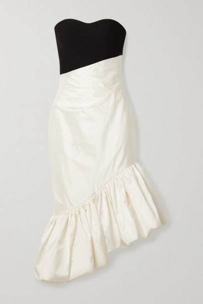 RASARIO - Ruffled Asymmetric Silk-blend Shantung And Cady Dress - Ivory