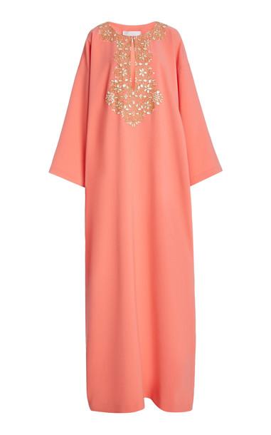 Carolina Herrera Crystal-Embroidered Crepe Kaftan in pink