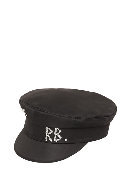 RUSLAN BAGINSKIY Baker Boy Satin Hat W/crystals in black