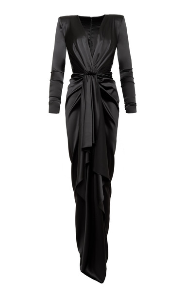 Alexandre Vauthier Draped Silk-Blend Satin Column Gown Size: 44
