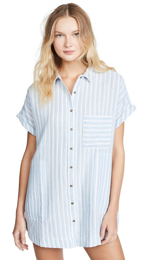 Plush Striped Linen Dress in blue