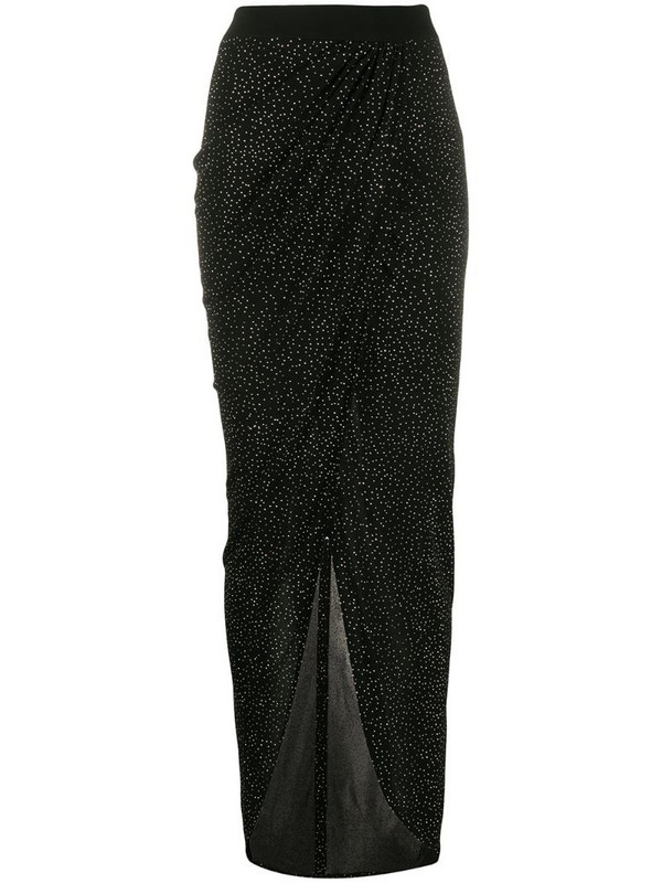Balmain rhinestone embellished asymmetric skirt in black