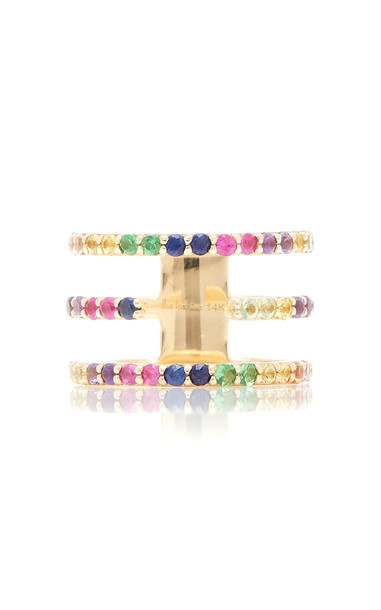 The Last Line 14K Yellow Gold Split-Band Rainbow Ring Size: 4