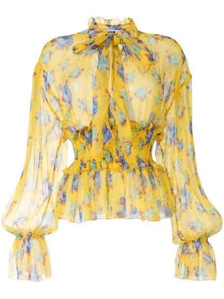 MSGM rose-print long-sleeved blouse in yellow