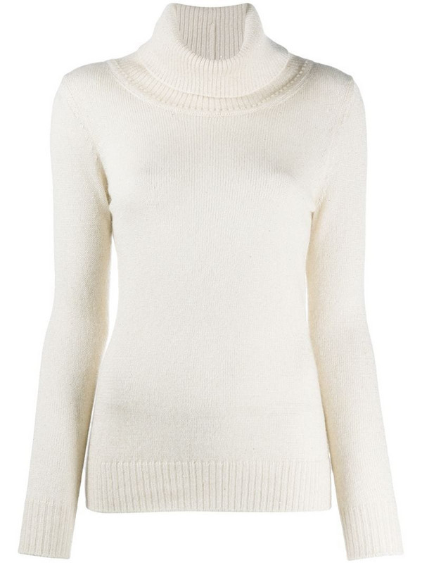 Gentry Portofino fitted roll neck knit jumper in neutrals
