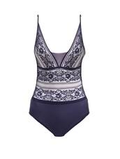 bodysuit,lace bodysuit,lace,floral,navy,underwear