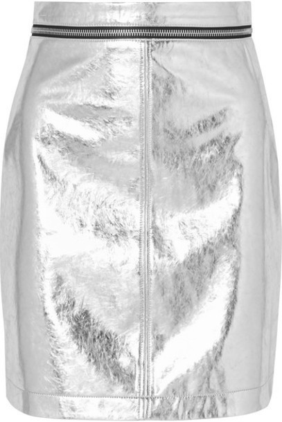 Philosophy di Lorenzo Serafini - Zip-embellished Metallic Faux Leather Mini Skirt - Silver
