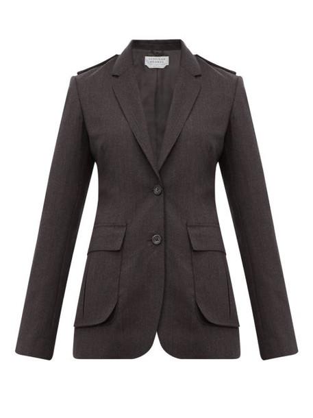 Gabriela Hearst - Wesley Raw Edged Wool Blazer - Womens - Dark Grey