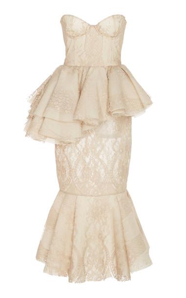 Brock Collection Pierrette Bustier-Detailed Cotton-Lace Peplum Dress S