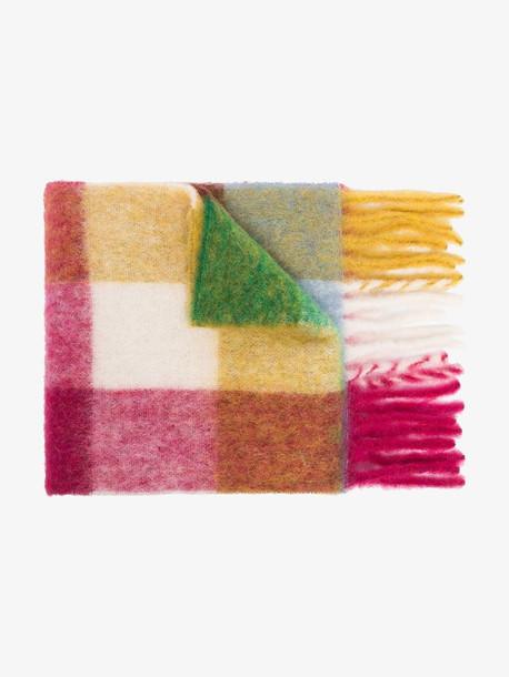 Acne Studios Multicoloured Cassiar checked wool scarf in orange