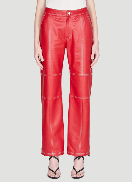 Kirin Leather Pants in Red size IT - 42