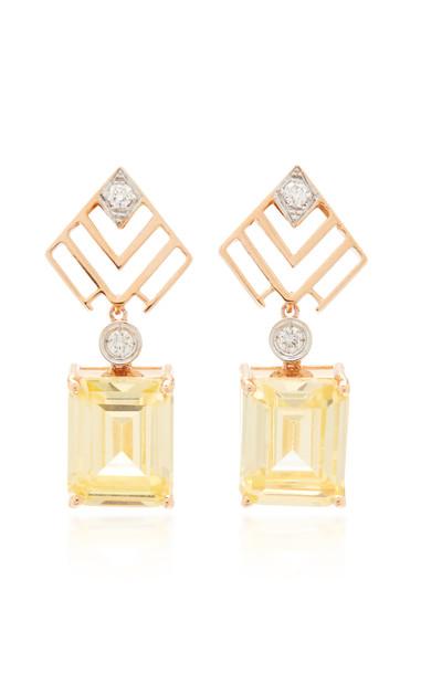 Melis Goral Luna Luce 14K Rose Gold Diamond And Topaz Earrings