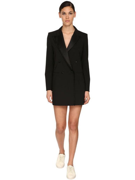 MAX MARA Stretch Satin Gabardine Jacket Dress in black