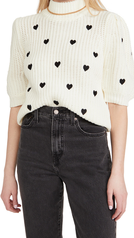 ENGLISH FACTORY Heart Sweater in black / white