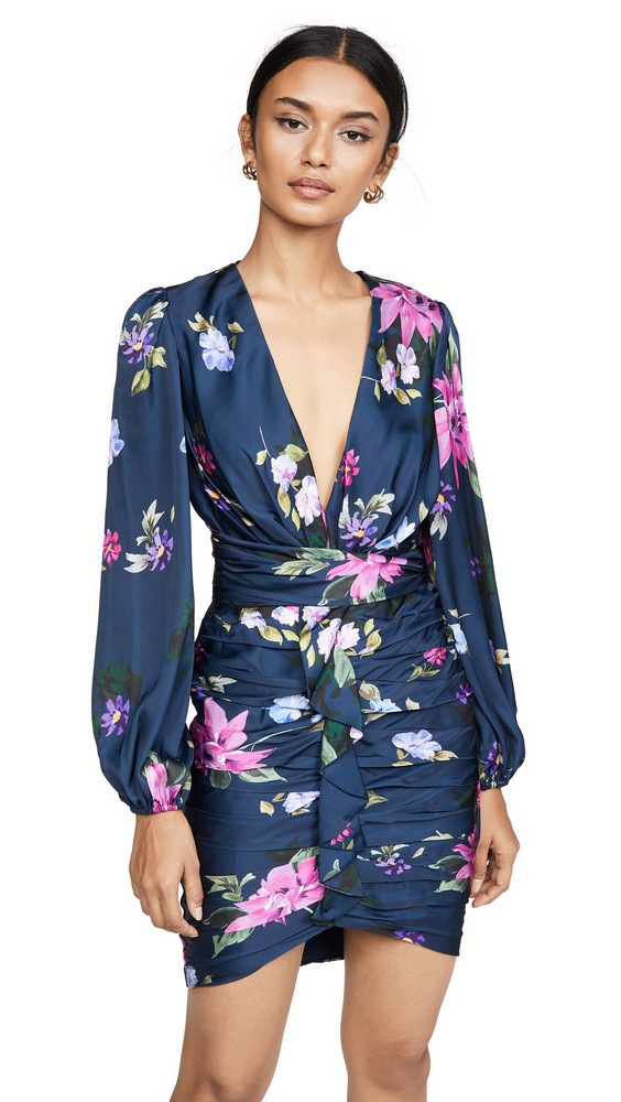 Jill Jill Stuart Deep V Ruched Dress in blue / multi