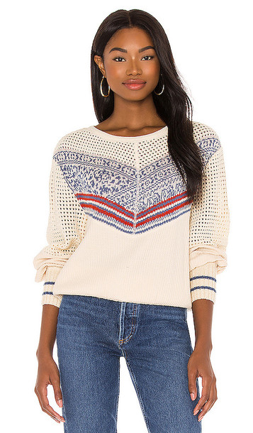Free People Geo Party Pullover in Ivory