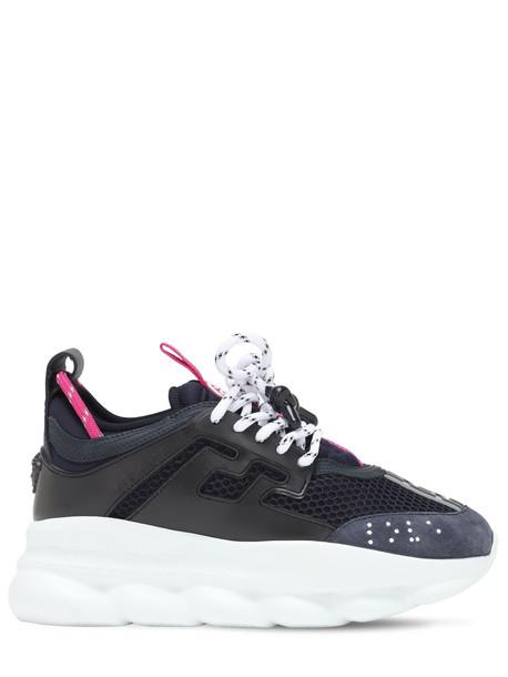 VERSACE Chain Reaction Mesh Sneakers in black / blue