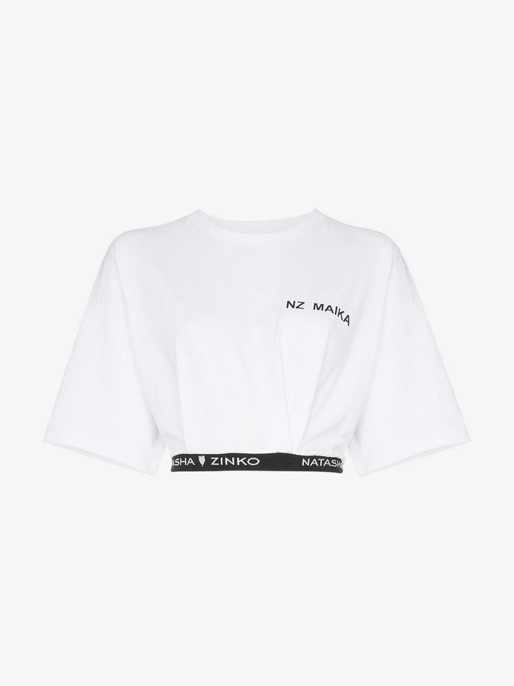 Natasha Zinko logo cropped cotton T-shirt in white