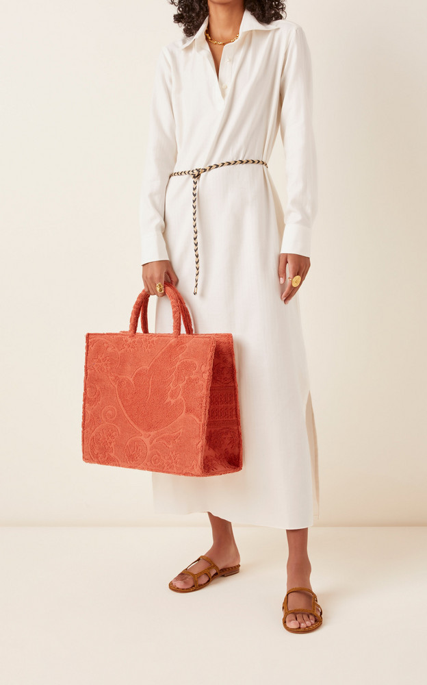 Poolside The Sunbaker Cotton Toweling Tote in orange