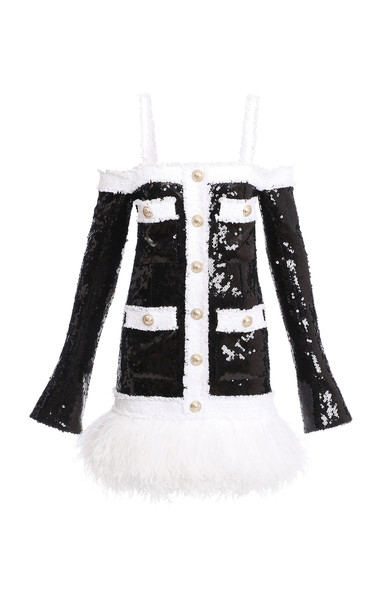 Balmain Feather-Trim Sequined Cold-Shoulder Dress in black / white