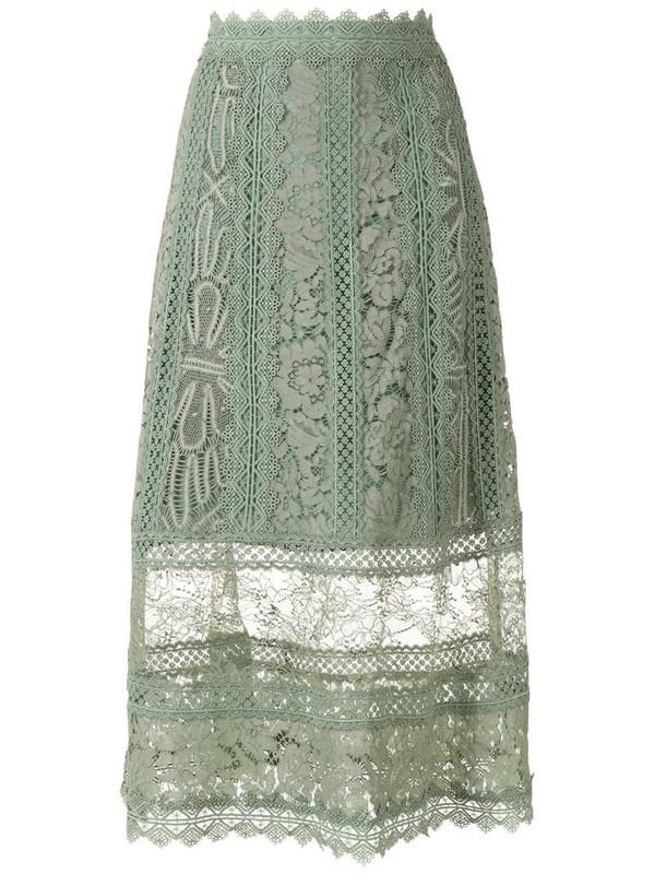 Martha Medeiros Jasmine a-line midi skirt in green