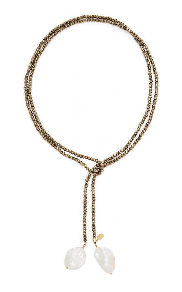 Joie DiGiovanni Gold-Filled, Pyrite and Pearl Necklace in metallic