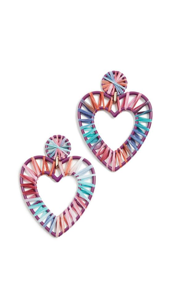 BaubleBar Regina Rafia Heart Earrings in gold / multi