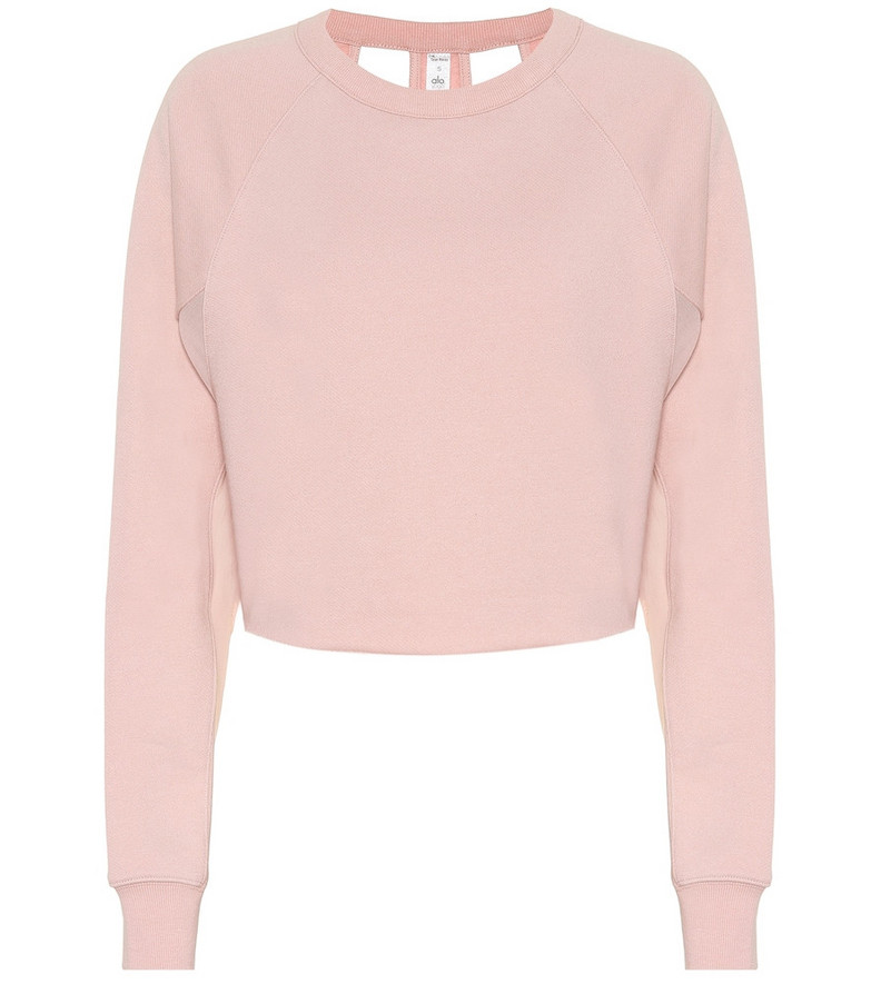 Alo Yoga Double Take cotton-blend sweater in pink