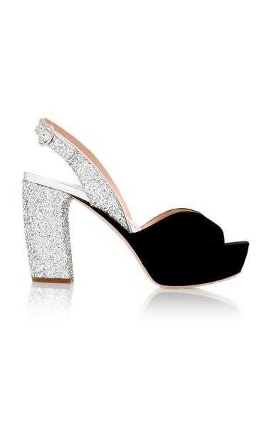 Miu Miu Glittered Suede Platform Sandals Size: 35