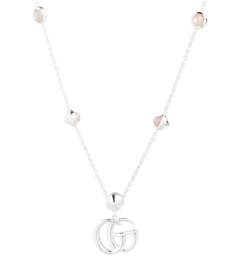 Gucci Double G mother-of-pearl and sterling silver necklace