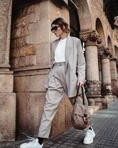 jacket,blazer,oversized,stripes,high waisted pants,white sneakers,socks,white t-shirt,fendi,bag