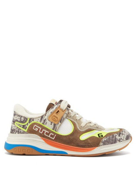 Gucci - Ultrapace Leather And Mesh Trainers - Womens - Beige White