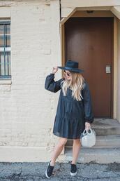 blonde bedhead,blogger,dress,shoes,bag,hat,sunglasses