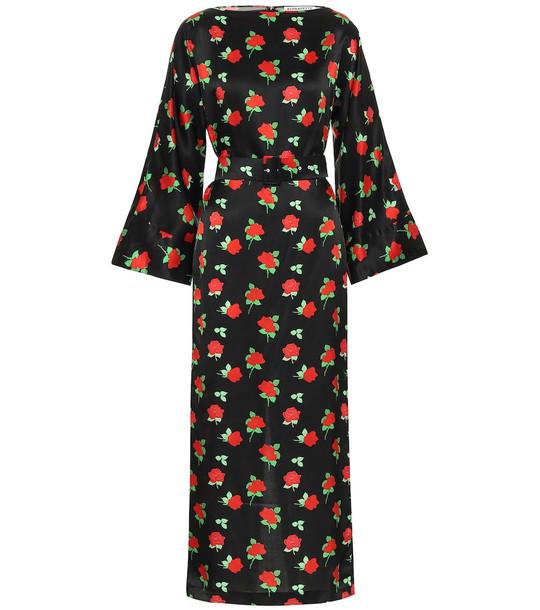 Bernadette Jackie floral satin midi dress in black