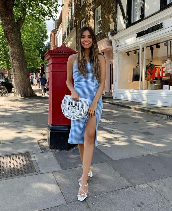 dress midi dress slit dress sleeveless white sandals wood handbag white bag