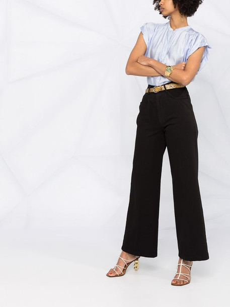Forte Forte pleated cropped blouse in blue