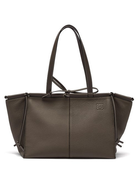 Loewe - Cushion Large Leather Tote Bag - Womens - Dark Grey