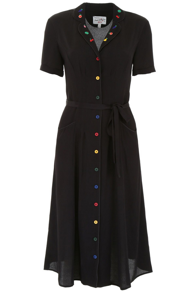HVN Maria Dress With Embroidered Fruit in black