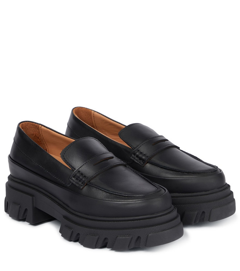 GANNI Leather loafers in black