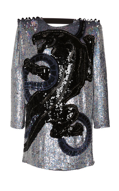 Dundas Sequin Silk Georgette Dress in black