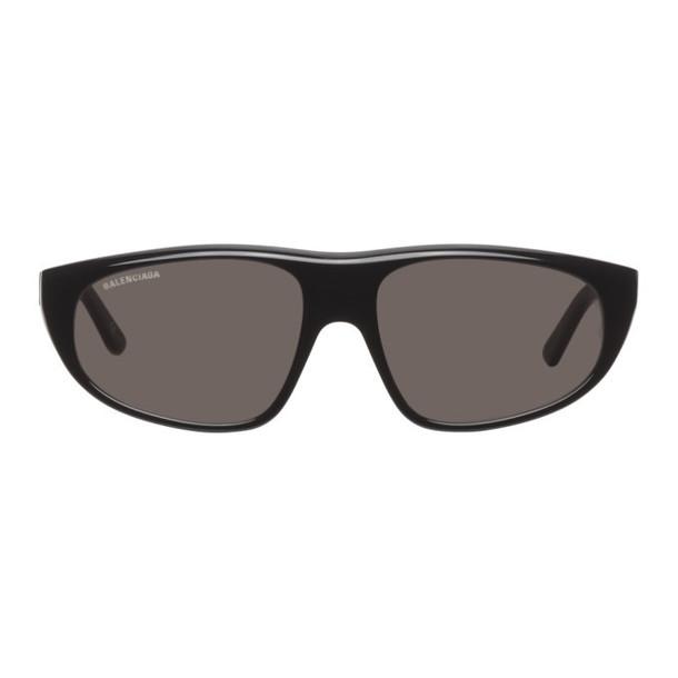 Balenciaga Black Flat Top Wrap Sunglasses
