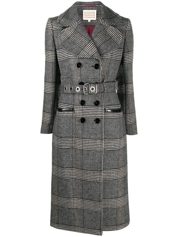 Alexa Chung belted check pattern trench coat in grey