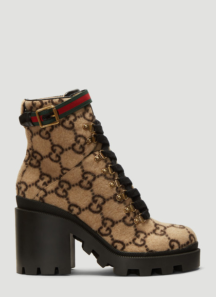 Gucci GG Felted Ankle Boots in Brown size EU - 37