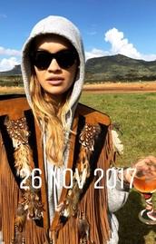 jacket,cowboy,brown,rita ora,funky colours
