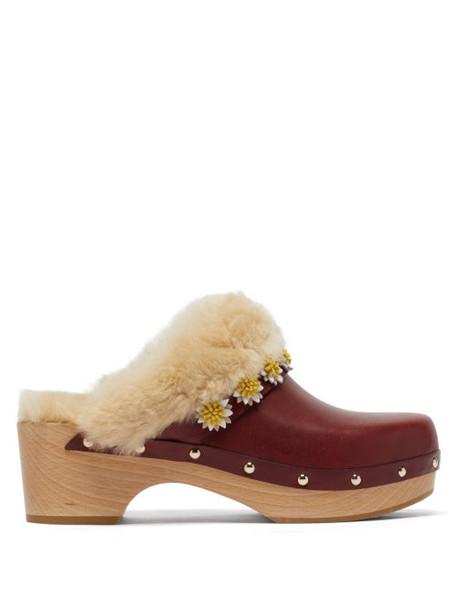 Fabrizio Viti - Jean Shearling-lined Leather Clogs - Womens - Brown Multi