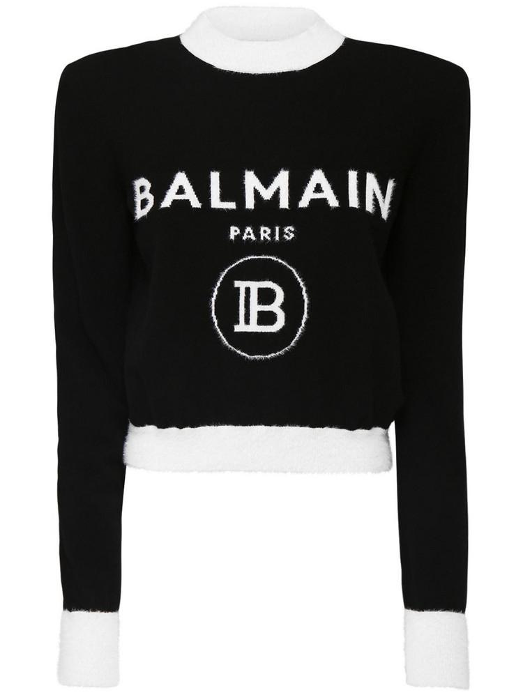BALMAIN Brushed Wool Logo Knit Crop Sweater in black / white
