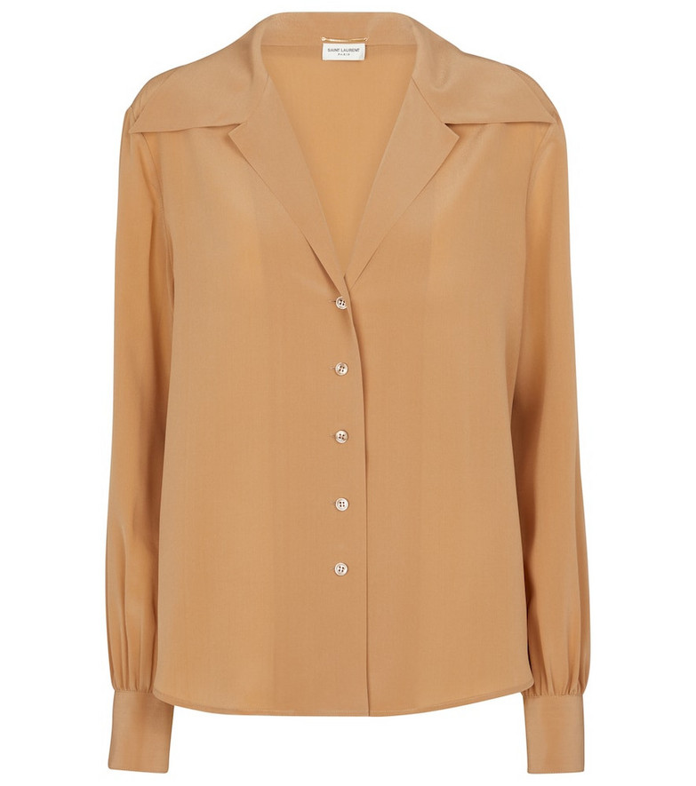 Saint Laurent Silk crêpe de chine shirt in beige