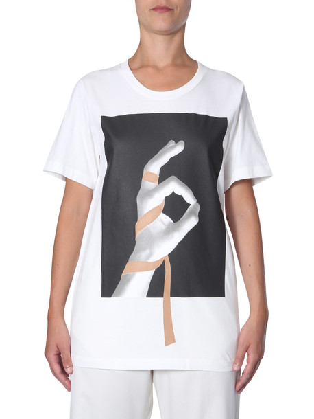 MM6 Maison Margiela Round Neck T-shirt in bianco