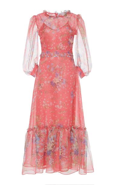 Luisa Beccaria Floral Print Silk Organza Dress Size: 38 in red