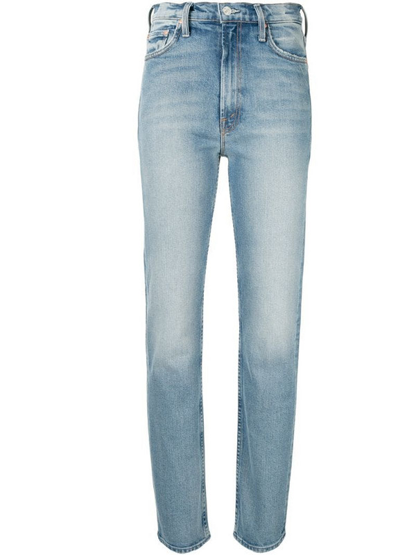 Mother Rider high-rise straight-leg jeans in blue